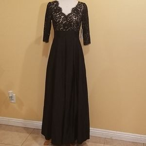 Eliza J. Black Formal Gown With Long Skirt Size 6